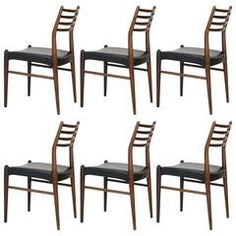 Set of Six Arne Vodder Rosewood Ladder Back Dining Chairs for Vamo of Denmark