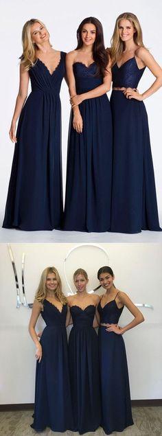 0fcfcd1e Elegant A-line Floor-length Navy blue Chiffon V-neck Bridesmaid Dresses,  BD0495. Lange KjolerBrudepigerKjole ...