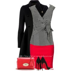 """""""Chevron Print Wrap Blouse"""" by stay-at-home-mom on Polyvore"""