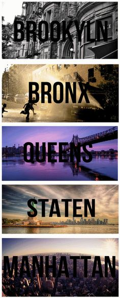 The 5 boroughs of New York City.