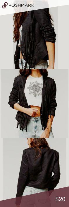NWOT KENDALL & KYLIE Fringe faux suede jacket :::: Work in progress :::  Dark Blue - almost black Kendall & Kylie Jackets & Coats Blazers