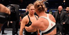 Slide 1 of Ronda Rousey, left, congratulates Holly Holm after losing her title belt in their UFC women's bantamweight championship bout at the UFC 193 event at Etihad Stadium on Nov. 2015 in Melbourne, Australia. Ronda Rousey, Holly Holm Ufc, Rowdy Ronda, Video L, Ufc Women, Raw Women's Champion, Losing Her, Martial Arts, Lifestyle