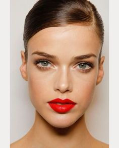 shimmery eyes & red lips ~  we ❤ this! moncheribridals.com