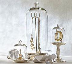 Watch/bracelet cloche & necklace cloche in gold, no monogram  Glass Cloche Jewelry Storage #potterybarn