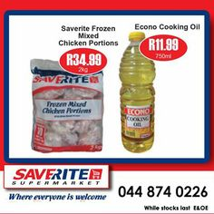 This weekend Specials from Saverite Supermarket York Street. Time to save on Econo Cooking oil selling for only a bottle and IQF Chicken now sells for only a bag. Don't delay, get down to the store today. Special Of The Day, Oil Mix, York Street, Cooking Oil, Frozen, Chicken, Bottle, Store, Bag