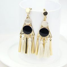 Pair of Ethnic Style Tassel Embellished Women's Earrings #hats, #watches, #belts, #fashion, #style