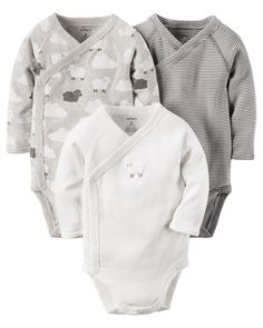 The perfect starters to any little outfit, these quick change bodysuits feature adorable prints and side snaps.
