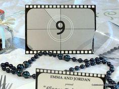 Numéros de table de mariage film, film bobine tableau nombre cartes, vieux Hollywood noir et blanc, table de mariage sur le thème de film, mariage des années 1920