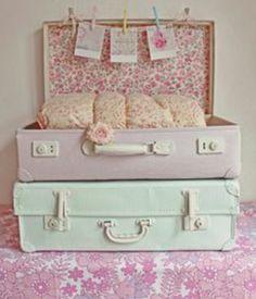 Pastel Vintage Suitcase Decoration