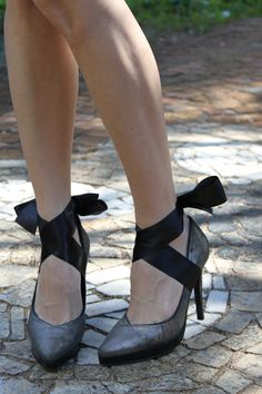 Arezzo shoes + Lace Ribbon added.