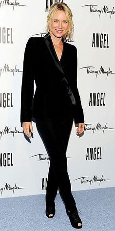In a sexy take on the tuxedo, the actress suits up to support her fellow Pantene spokesmodel at the reveal of Eva's campaign for Thierry Mugler Angel perfume in New York City.