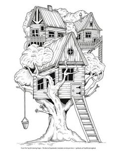 Free treehouse coloring page by Steve Turner