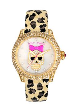 Betsey Johnson Skull Dial Leather Strap Watch. Too cute. #Jerseylicious #Inspiration