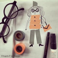 Washi tape art - combining washi tape and doodles to make cute drawings