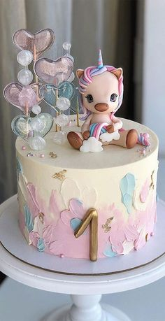 Baby Birthday Cakes, Unicorn Birthday, Cute Unicorn, Rainbow Unicorn, Celebration Cakes, Birthday Celebration, Unicorn Cake Design, Horse Template, Cake Rainbow