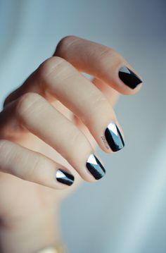 Black And Silver minimalist nail art