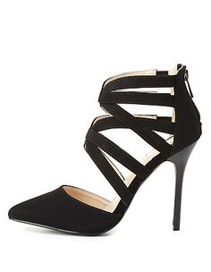 Strappy Caged Pointed Toe Pumps: Charlotte Russe