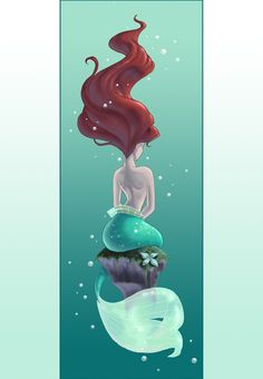 Love this. Wouldn't want it to resembel Ariel. I dig her hair in a watery tornado and her tail fin wrapped around the rock