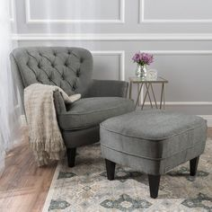 Ottoman living room with regard to home ideas wonderful accent chair and ottoman set sets living . ottoman living room with regard to home Living Room Chairs, Living Room Interior, Living Room Furniture, Living Room Decor, Bedroom Decor, Dining Chairs, Living Rooms, Furniture Chairs, Grey Bedroom Chair