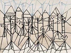Jürgen Partenheimer, »100/18 Octavio Paz, El color del canto«, 2016 |Aquarell und Tusche auf Papier |45.5 x 61 cm | Foto: Wolfgang Grümer
