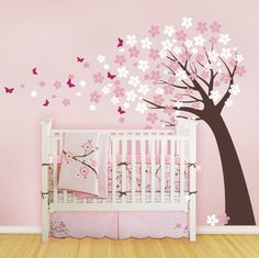 Blowing Cherry Blossom Tree with Butterflies  by SimpleShapes, $86.00