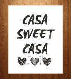 Casa Sweet Casa Linocut Block Print by Printwork on Scoutmob