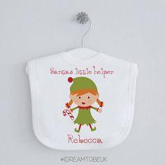 Santas Little Helper Christmas bib baby shower gift first
