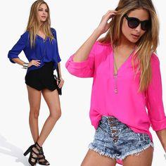 Women Summer Temperament Casual Shirts Fashion V Neck Chiffon Blouses