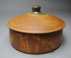 Clay Covered Baking Dish Casserole Rust Green by JohnMcCoyPottery, $70.00