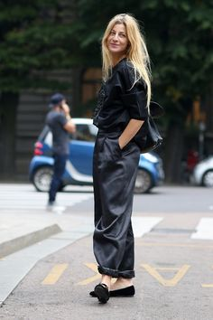 black and wide trousers...