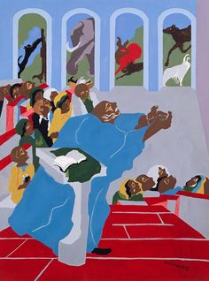 Genesis Creation Sermon VI: And God Created All the Beasts of the Earth - Jacob Lawrence  (Walter O. Evans Collection)