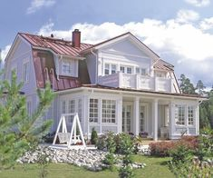 The Rauhala Villa, house design by Finnish constructing company Kannustalo Dutch Colonial, Scandinavian Home, White Houses, House Rooms, Architecture, My Dream Home, Future House, Home Fashion, Beautiful Homes
