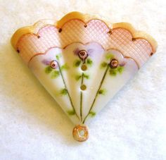 Handcrafted Porcelain Button Realistic Fan Pink Scallop 1 inch  FREE US SHIPPING