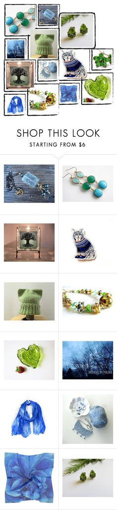 """Blue to Green and in Between"" by fibernique ❤ liked on Polyvore featuring Nature Home Decor and vintage"