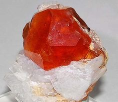 Spessartine gem crystal on Albite matrix / Dara-i-Pech, Afghanistan     From mindat.org             via Jɛη ✾ ✽ ❃