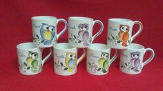 ceramica come mestiere: Tazze tipo Mug personalizzate. Decori con gufi. Coffee Cups, Tea Cups, China Painting, Pottery Vase, Sharpie, Owl, Cartoon, Mugs, Tableware