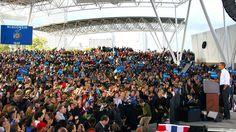 The President addresses the Milwaukee crowd.