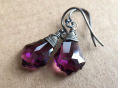 Shimmering Purple Swarovski Baroque crystals. Amethyst. Gothic. Burlesque. Parisian.
