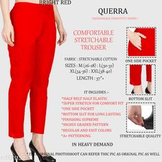 Trousers & Pants Trendy Graceful Women Women Trousers  Fabric: Cotton Lycra Sizes:  34 (Waist Size: 34 in, Length Size: 37 in)  36 (Waist Size: 36 in, Length Size: 37 in)  26 (Waist Size: 26 in, Length Size: 37 in)  38 (Waist Size: 38 in, Length Size: 37 in)  28 (Waist Size: 28 in, Length Size: 37 in)  40 (Waist Size: 40 in, Length Size: 37 in)  30 (Waist Size: 30 in, Length Size: 37 in)  32 (Waist Size: 32 in, Length Size: 37 in)  Country of Origin: India Sizes Available: 26, 28, 30, 32, 34, 36, 38, 40, 42   Catalog Rating: ★4.3 (963)  Catalog Name: Pretty Designer Women Women Trousers CatalogID_2701679 C79-SC1034 Code: 903-13711337-327