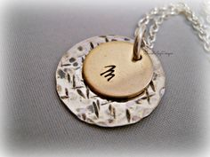 Sterling Silver Two Toned Nu Gold Hammered Textured Necklace - Hand Stamped Initial Jewelry Mothers Day