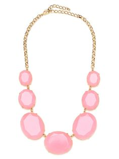 Mod gems are inherently infused with a playful feel, but feel even more so in sweet confectionary colors.  Ballet slipper pink stones are gently encased in gold and strung on chain link.  This is part of the BaubleBar + Atlantic-Pacific Collection