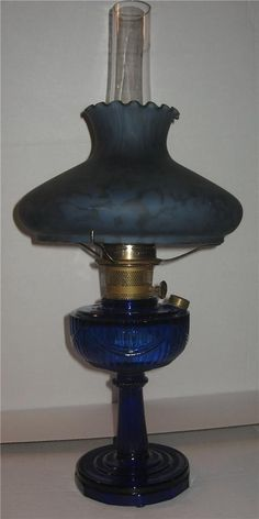 Aladdin Cobalt Blue Tall Lincoln Drape Kerosene Oil Lamp w Burner w Shade | eBay