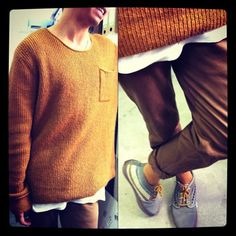 Our menswear buyer Vinnie is rocking the winter look in a Nique knit, white tee and chinos!
