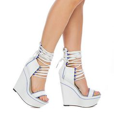 New Sexy White Blue Ankle Strap Platform High Heels Womens Sandal Shoe Siz 6 11 | eBay