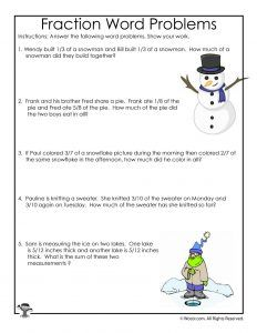 Winter Fractions Word Problems Worksheets For 3rd Grade Woo Jr Kids Activities Fraction Word Problems Word Problems Word Problems 3rd Grade Math fraction word problems worksheets