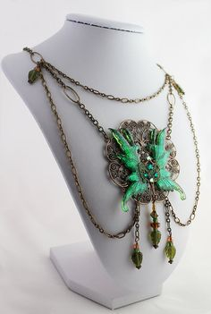 Fairy Wings Necklace in Green  Fairy Wings by OnGossamerWings