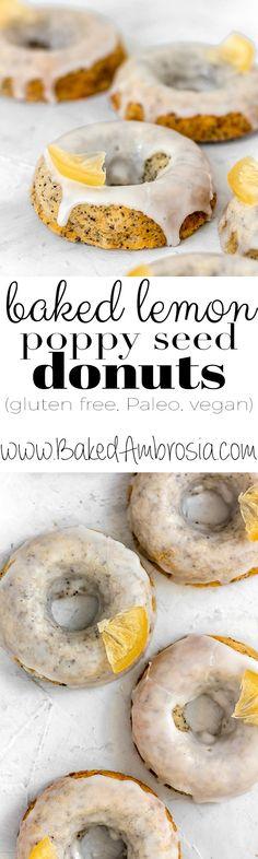 Baked Lemon Poppy Seed Donuts (Gluten Free, Paleo, Vegan)