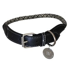 pawsdeluxe sailor dog collar braided cloth eco leather silver accent buckle side