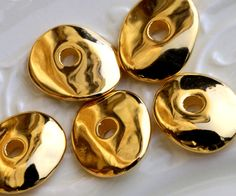 24K Gold Nugget Beads, Cornflake Disk Spacer, Wavy Washers, 16x13 mm, 4 Pc, Mykonos Greek Metal Plated Ceramic, MK69 by TreeTerracom on Etsy