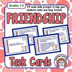 Friendship+Cards:+24+Social+Skill+Prompts+for+teaching+and+reinforcing+social+skills.++FREESome+kids+make+friends+naturally,+but+for+others,+making+and+keeping+friends+is+not+so+easy.+Studies+have+shown+that+having+even+one+friend+significantly+improves+a+child's+emotional+health+and+school+performance.